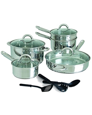 Abruzzo 12 Piece Stainless Steel Cookware Set - gibson home