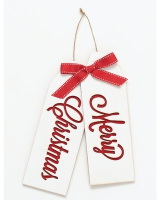 Merry Christmas Wooden Tag Hanging Figurine Ornament - the holiday aisle