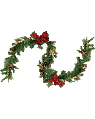 Pine with Balls Poinsettias Pine Cones and Berries Christmas Garland with Unlit - northlight seasonal