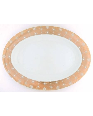 """222 Fifth (PTS) Snow Crystal 14"""" Oval Serving Platter"""