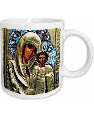 East Urban Home Russian Icon of the Blessed Mary Coffee Mug Ceramic in Brown/Green, Size 3.75 H x 4.0 W in   Wayfair