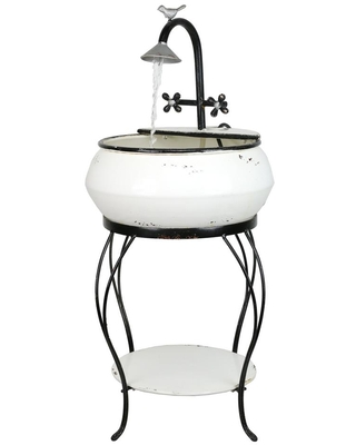 32 in Tall Outdoor Antique Metal Sink Water Fountain and Stand - alpine corporation