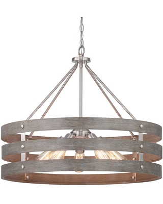 Gulliver 27 3 4 in 5 Light Brushed Nickel Farmhouse Drum Chandelier with Weathered Wood Accents for Dining Room - progress lighting