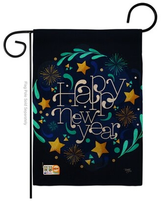 New Year Vibes Impressions 2 Sided Burlap 5 x 13 in Garden Flag - breeze decor