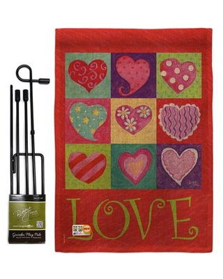 Love Hearts Collage Burlap Spring Valentines Impressions 2 Sided Polyester 5 x 13 in Garden Flag Set - breeze decor