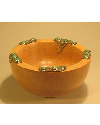 Maple bowl with turquoise cabochons set - alchemy works