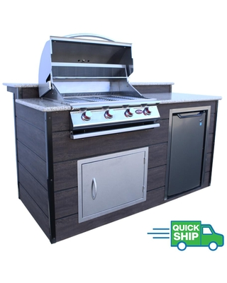 4 Burner 6 ft Synthetic Wood and Granite BBQ Grill Island with Gas Grill - cal flame