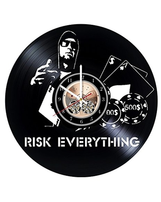 Risk Everything Vinyl Record Clock Motivation Wall Decor Risk Handmade Home Decor Vinyl Wall Clock Unique Gifts - undefined