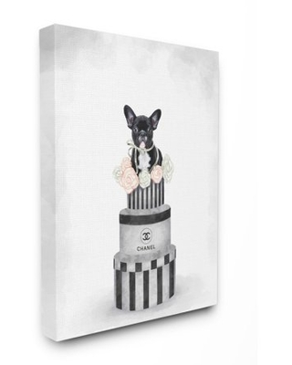 Stupell Industries Fashion Box Stack Dog Pink Painting Canvas Wall Art by Ziwei Li - stupell home d cor