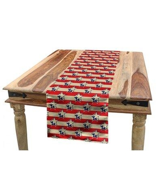 East Urban Home USA Table Runner Polyester in Gray/Red, Size 90.0 W x 16.0 D in   Wayfair 198596AC26D248BEB479EE8CDCC47854