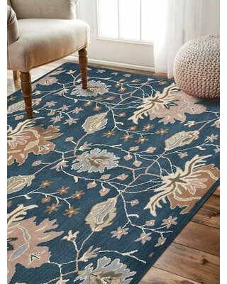 Beybut Hand-Tufted Wool Blue Area Rug