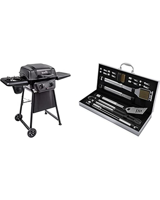 Classic 280 2 Burner Liquid Propane Gas Grill with Side Burner & Home Complete HC 1000 BBQ Accessories - 16PC Grill Set with Spatula Tongs Skewers Case 16 Piece - char-broil