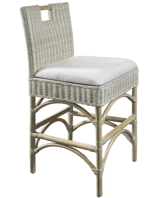 Malio 83 in Whitewash Full Back Rattan Frame Counter Height 24 27 in Counter Stool with Fabric Seat - padma's plantation