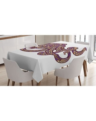 Ambesonne Octopus Tablecloth Octopus Illustration With Pattern And Colors Style Artwork Print Rectangular Table Cover For Dining Room Kitchen Decor - east urban home