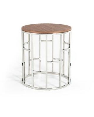 BM187527 Wood and Stainless Steel End Table with Geometric Style Base and - benzara