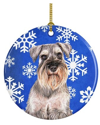 Winter Snowflakes Holiday Schnauzer Ceramic Hanging Figurine Ornament - the holiday aisle