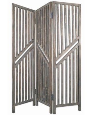 BM205775 Traditional Slatted 3 Panel Wooden Room Divider Weathered - benzara