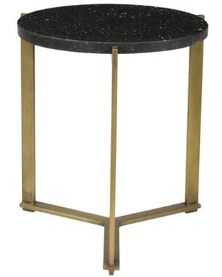 Syd Collection QJ 1021 02 End Table with Antique Brass Iron Base - moes home collection