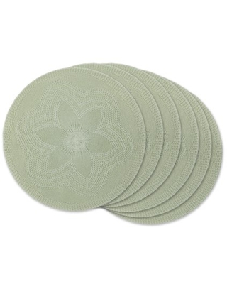 Mint Floral Woven Round Placemat - dii