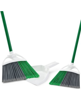 2 Angle Brooms with 1 Dustpan Value Pack - libman