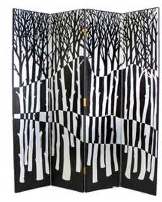 BM213515 Wooden 4 Panel Room Divider with Forest Theme and - benzara