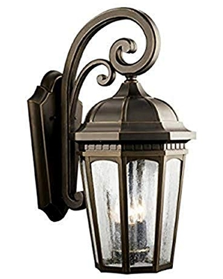 Courtyard 3 Light Outdoor Wall Light with Clear Seeded Glass - kichler