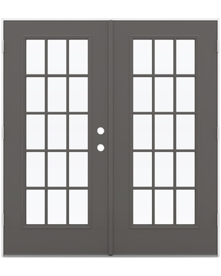 JELD-WEN French 72-in x 80-in Tempered External Grilles Timber Gray Steel Right-Hand Outswing Prehung Double Door French Patio Door ENERGY STAR