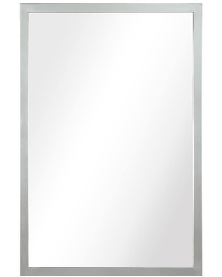 Empire Art Direct Stainless Steel Silver Glass Wall Mirror 36-in L x 24-in W Clear Mirror, Brushed Black Stainless Steel Frame Framed Wall Mirror