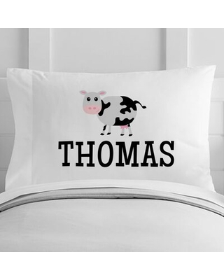 Personalized Cow Toddler Pillow Case - 4 wooden shoes