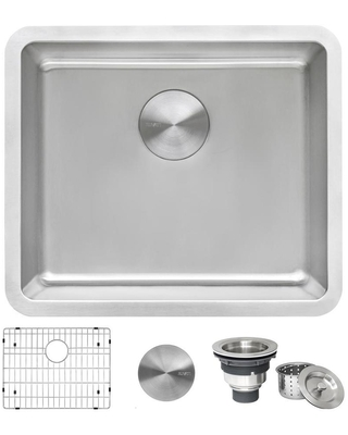 Modena Undermount 5 in x 75 in Brushed Stainless Single Bowl Kitchen Sink Stainless Steel RVM5020 - ruvati
