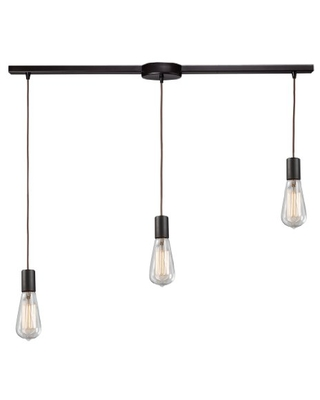 60046 3L Menlow Park 3 Light Linear Pendant With Clear Blown Glass Shade - elk
