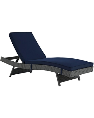 Sojourn Wicker Outdoor Patio Chaise Lounge with Sunbrella Canvas Cushions - modway