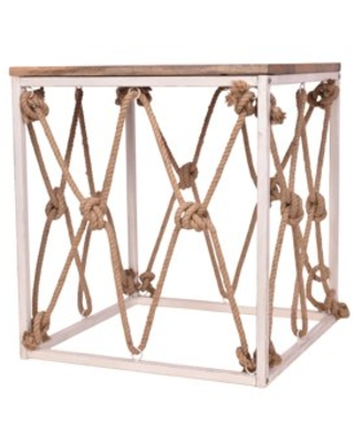 Decor Therapy Laurel Mango Wood and Jute Roped Console Table - decor therapy
