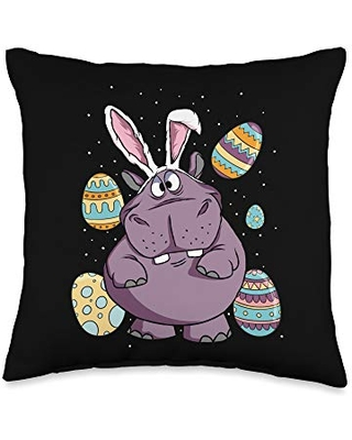 Funny Hippo Wearing Rabbit Bunny Ears Easter Sunday Throw Pillow 16x16 - easter egg hunt merch co