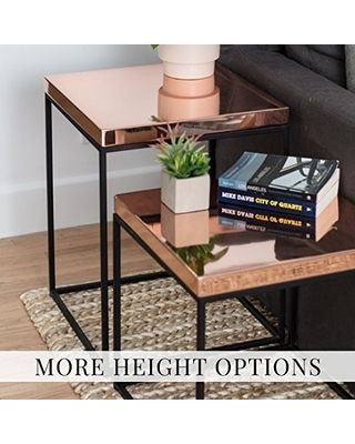 Polished Copper Topped Steel Cube Minimal Side Table Stool End Table or Nighstand - patrick cain designs
