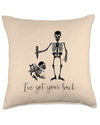 I've Got Your Back Human Skeleton Funny Chiropractor Gift Throw Pillow 18x18 - boredkoalas chiropractician throw pillow gifts