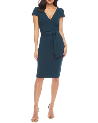 Dress the Population Dana Wrap Waist Cocktail Dress, Size Xx-Small in Pine at Nordstrom