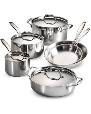 Gourmet Tri Ply Clad Induction Ready Stainless Steel 10 pc Cookware Set - tramontina