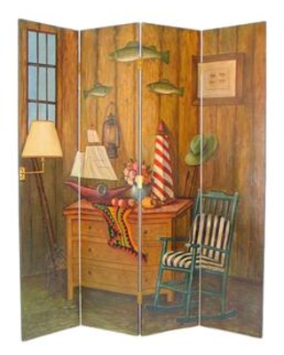 BM213514 Wooden 4 Panel Room Divider with Sea and Marine Life Theme - benzara