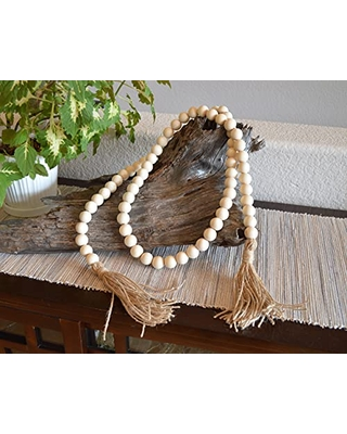 Farmhouse Wood Bead Garland with huge jute tassels Large Wood Beads Decorative Tray Accent Decor Coffee Table Modern Farmhouse long - skyeart