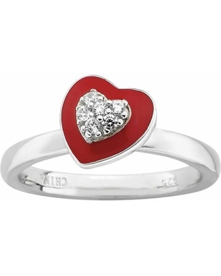 Sterling Polished Enameled CZ Heart Ring - stackable expressions