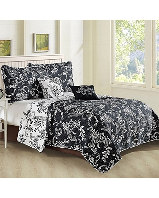 La Boheme 5 Piece Quilted Printed Bed Spread Cover King Quilt Set with Matching Shams Pillows Lightweight Reversible Coverlet Bedding Set Thin Comforter - home soft things