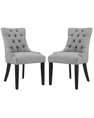 Regent Collection EEI 2743 LGR SET Dining Chairs with Rubberwood Tapered Legs Nailhead Trim Non Marking Foot Caps Solid Wood Frame - modway