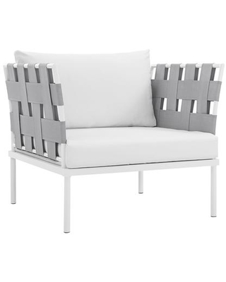 Harmony Collection EEI 2602 WHI WHI Outdoor Patio Armchair with Aluminum Frame Silk Polyester Weave Back and Arms All Weather Canvas - modway