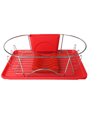 17 Inch and Dish Rack with Detachable Utensil holder and a 6 Attachable Plate Positioner - megachef