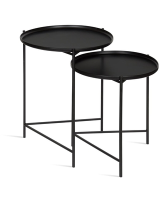 Ulani Round Metal Accent Tables 2 Piece 212826 - kate and laurel