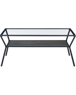 AF42KAYCTSG Modern Angled Metal Frame and Glass Top Coffee Table in Slate - walker edison