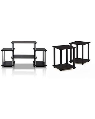 Turn N Tube No Tools Entertainment TV Stands & Simplistic End Table Espresso - furinno
