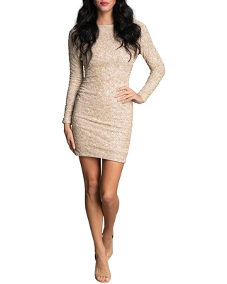 Dress the Population Lola Sequin Long Sleeve Body-Con Minidress, Size Large in Nude Multi at Nordstrom