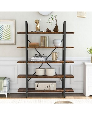 Large Open Bookcase Vintage Industrial Style Bookshelf Wood And Metal Frame Bookcase Display Rack And Storage Organizer For Home Office - 17 stories
